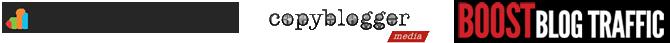 Logos for CopyBlogger, Kissmetrics, Bosot Blog Traffic